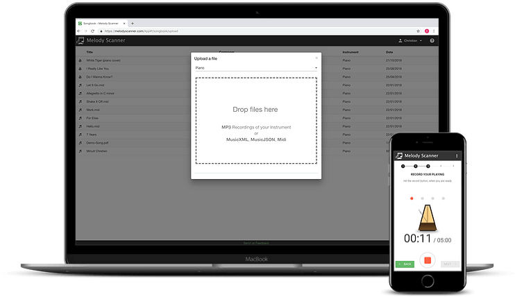 Melody Scanner Website and Mobile App
